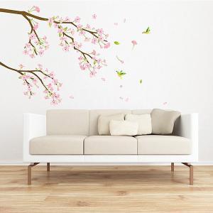 ウォールステッカー 壁 木 梅の花 貼ってはがせる のりつき 壁紙シール ウォールシール 植物 木 花 アジアン リメイクシート wallstickershop