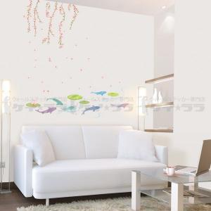 ウォールステッカー 壁 木 花 春の池 貼ってはがせる のりつき 壁紙シール ウォールシール 植物 木 花 アジアン リメイクシート wallstickershop