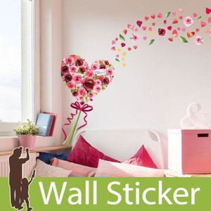 ウォールステッカー 花 ハート 春 リボン  壁紙シール ウォールステッカー 木 ウォールステッカー 壁紙 リメイクシート|wallstickershop