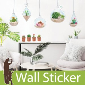 ウォールステッカー 北欧 両面印刷 サボテン りす 貼ってはがせる のりつき 壁紙シール ウォールシール 植物 リメイクシート|wallstickershop