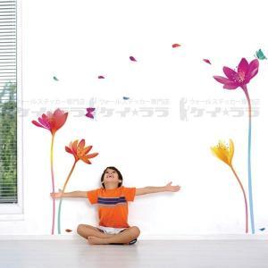 ウォールステッカー 壁 花 虹 にじ 花 貼ってはがせる のりつき 壁紙シール ウォールシール 植物 木 花 リメイクシート|wallstickershop
