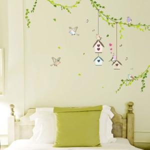 ウォールステッカー 壁 木 森の中の鳥かご 貼ってはがせる のりつき 壁紙シール ウォールシール 植物 木 花 リメイクシート|wallstickershop