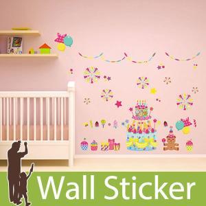 ウォールステッカー 誕生日 子供部屋 パーティ ケーキ カラフル 北欧 木 英字 壁紙 シール トイレ ウォールシール インテリア リメイクシート|wallstickershop