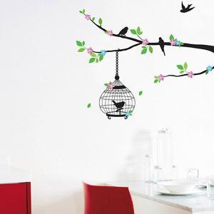ウォールステッカー 壁 木 花 鳥かご 貼ってはがせる のりつき 壁紙シール ウォールシール 植物 木 花|wallstickershop