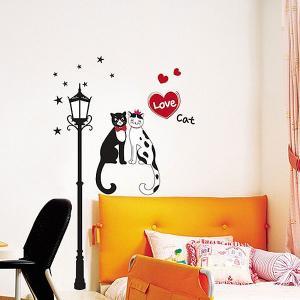 ウォールステッカー 壁 猫 恋する猫 貼ってはがせる のりつき 壁紙シール ウォールシール ウォールステッカー本舗|wallstickershop