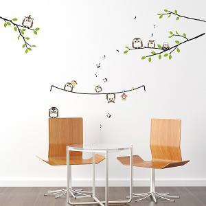 ウォールステッカー 壁 木 フクロウ家族 貼ってはがせる のりつき 壁紙シール ウォールシール 植物 木 花|wallstickershop