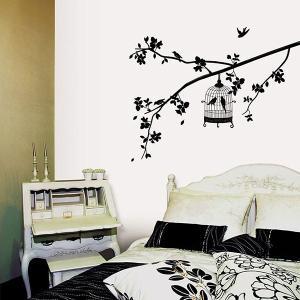 ウォールステッカー 壁 木 鳥かご ツリー 貼ってはがせる のりつき 壁紙シール ウォールシール 植物 木 花|wallstickershop