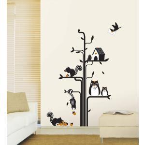 ウォールステッカー 壁 木 森の友達 貼ってはがせる のりつき 壁紙シール ウォールシール 植物 木 花|wallstickershop