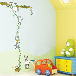 ウォールステッカー 壁 木 ジャングル 貼ってはがせる のりつき 壁紙シール ウォールシール 植物 木 動物|wallstickershop