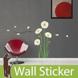 ウォールステッカー 花 北欧 ホワイト フラワー ホワイトポピー 英字おしゃれ 貼ってはがせる|wallstickershop