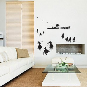 ウォールステッカー 壁 北欧 カウボーイ 貼ってはがせる のりつき 壁紙シール ウォールシール 動物|wallstickershop