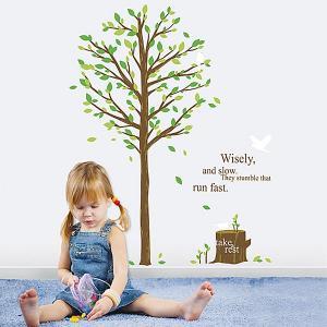 ウォールステッカー 壁 木 緑の木 貼ってはがせる のりつき 壁紙シール ウォールシール 植物 木 花|wallstickershop
