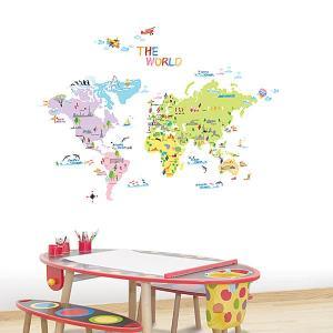 ウォールステッカー 壁 北欧 イラスト付き世界地図 貼ってはがせる のりつき 壁紙シール ウォールシール ウォールステッカー本舗|wallstickershop