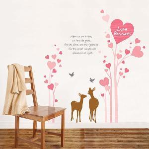 ウォールステッカー 壁 アニマル 動物シール 鹿とハートラブ 貼ってはがせる のりつき 壁紙シール ウォールシール 植物 木 花|wallstickershop