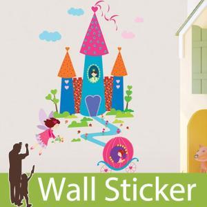 ウォールステッカー おしゃれ かわいい 北欧 お城 プリンセス ハート 馬車 キャッスル 子供部屋 リビング インテリア シール のり付き|wallstickershop