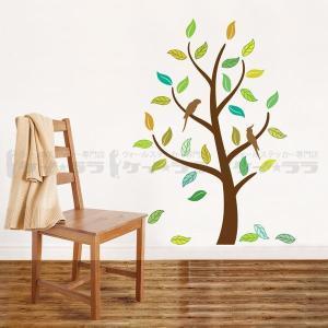 ウォールステッカー 壁 木 オウムと木 貼ってはがせる のりつき 壁紙シール ウォールシール 植物 木 花|wallstickershop