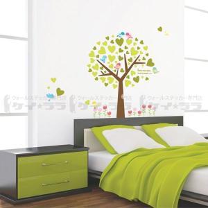 ウォールステッカー 壁 木 チューリップと木 貼ってはがせる のりつき 壁紙シール ウォールシール 植物 木 花|wallstickershop