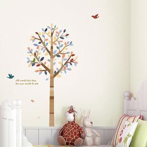 ウォールステッカー 壁 北欧 木 カラフルな木 貼ってはがせる のりつき 壁紙シール ウォールシール 植物 木 花|wallstickershop