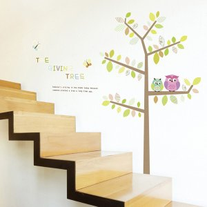 ウォールステッカー 壁 木 ふくろう家族 貼ってはがせる のりつき 壁紙シール ウォールシール 植物 木 花|wallstickershop