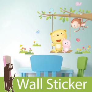 ウォールステッカー 壁 アニマル 動物シール 動物とツリーブランコ 貼ってはがせる のりつき 壁紙シール ウォールシール ウォールステッカー本舗|wallstickershop