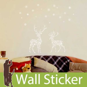 ウォールステッカー 壁 クリスマス 飾り トナカイ 雪 結晶 貼ってはがせる のりつき 壁紙シール ウォールシール ウォールステッカー本舗|wallstickershop