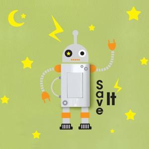 ウォールステッカー スイッチ コンセント 北欧 星とロボット 貼ってはがせる のりつき 壁紙シール ウォールシール|wallstickershop
