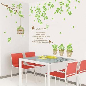 ウォールステッカー 壁 木 木と鳥かご 貼ってはがせる のりつき 壁紙シール ウォールシール 植物 木 花|wallstickershop