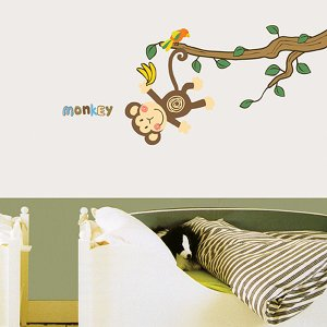 ウォールステッカー 壁 モンキー 貼ってはがせる のりつき 壁紙シール ウォールシール 植物 木 花 動物|wallstickershop