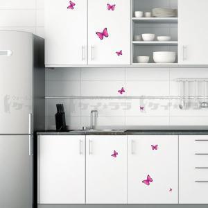 ウォールステッカー 壁 北欧 ピンクの蝶 貼ってはがせる のりつき 壁紙シール ウォールシール ウォールステッカー本舗|wallstickershop