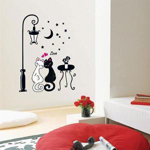 ウォールステッカー 壁 猫 星空のLOVE猫 貼ってはがせる のりつき 壁紙シール ウォールシール ウォールステッカー本舗|wallstickershop
