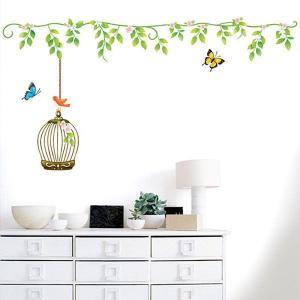 ウォールステッカー 壁 木 鳥かごと蝶 貼ってはがせる のりつき 壁紙シール ウォールシール ウォールステッカー本舗|wallstickershop