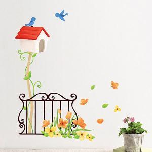 ウォールステッカー 壁 花 鳥と鳥かご 貼ってはがせる のりつき 壁紙シール ウォールシール 植物 木 花|wallstickershop