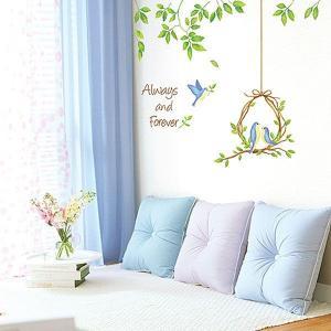 ウォールステッカー 壁 木 鳥の巣 貼ってはがせる のりつき 壁紙シール ウォールシール 植物 木 花|wallstickershop