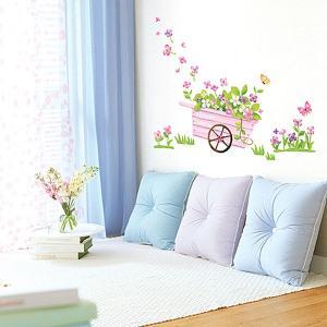 ウォールステッカー 壁 花 花車 貼ってはがせる のりつき 壁紙シール ウォールシール 植物 木 花|wallstickershop
