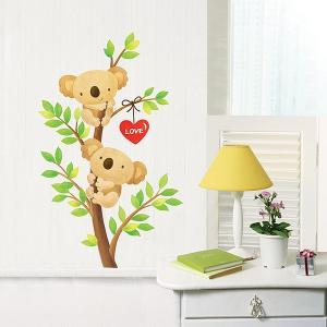ウォールステッカー 壁 木 木に登るコアラ 貼ってはがせる のりつき 壁紙シール ウォールシール 植物 木 花 動物|wallstickershop