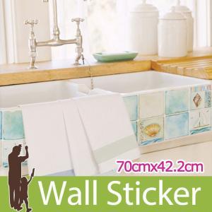 タイルシール キッチン ブルー ウォールステッカー 壁 柄 タイル シール アルミニウムキッチンシート|wallstickershop