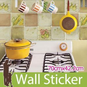 タイルシール キッチン ブラウン ウォールステッカー 壁 柄 タイル シール アルミニウムキッチンシート|wallstickershop