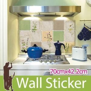 タイルシール キッチン ハーブ ウォールステッカー 壁 柄 タイル シール アルミニウムキッチンシート|wallstickershop