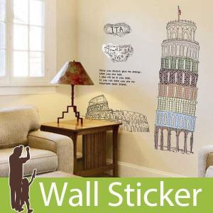 ウォールステッカー 壁 北欧 ピサの斜塔 貼ってはがせる のりつき 壁紙シール ウォールシール ウォールステッカー本舗|wallstickershop