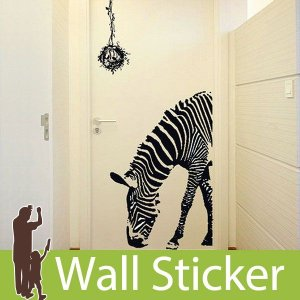 ウォールステッカー 壁 アニマル 動物シール ゼブラ/しまうま上半身 貼ってはがせる のりつき 壁紙シール ウォールシール ウォールステッカー本舗|wallstickershop