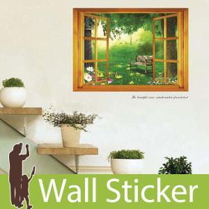 ウォールステッカー 北欧 森の窓 窓型 貼ってはがせる のりつき 壁紙シール ウォールシール ウォールステッカー本舗|wallstickershop