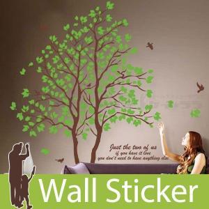 ウォールステッカー 壁 木 緑木と鳥 2枚セット 貼ってはがせる のりつき 壁紙シール ウォールシール 植物 木 花|wallstickershop