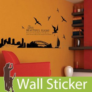 ウォールステッカー 壁 北欧 ビューティフルフライト 貼ってはがせる のりつき 壁紙シール ウォールシール ウォールステッカー本舗|wallstickershop