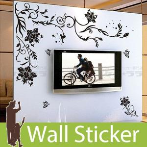 ウォールステッカー 壁 花 花柄・蝶A モノトーン 貼ってはがせる のりつき 壁紙シール ウォールシ...