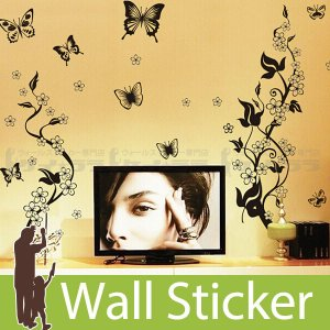ウォールステッカー 壁 花 花柄・蝶B モノトーン 貼ってはがせる のりつき 壁紙シール ウォールシール 植物 木 花|wallstickershop