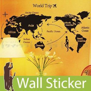 ウォールステッカー 壁 北欧 世界地図 世界旅行 モノトーン 貼ってはがせる のりつき 壁紙シール ...