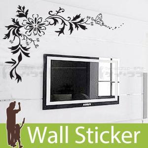 ウォールステッカー 壁 花 花柄・蝶C モノトーン 貼ってはがせる のりつき 壁紙シール ウォールシ...
