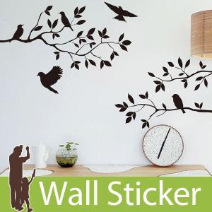 ウォールステッカー 壁 木 鳥 モノトーン 35×60 転写タイプ 貼ってはがせる のりつき 壁紙シ...