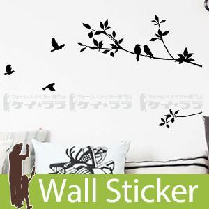 ウォールステッカー 壁 木 鳥 モノトーン 24×60 転写タイプ 貼ってはがせる のりつき 壁紙シ...