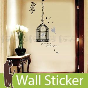 ウォールステッカー 壁 北欧 鳥かご モノトーン 貼ってはがせる のりつき 壁紙シール ウォールシー...